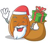 Santa with gift almond nut character cartoon Stock Photography
