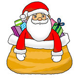 Santa in gift bag. A sweet bag with sweet and candy Royalty Free Stock Photos
