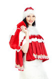 Santa with gift bag Royalty Free Stock Photography