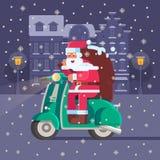 Santa with Gift Bag on Christmas Scooter Royalty Free Stock Image