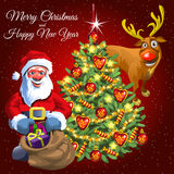 Santa gift bag, decorated tree and funny deer Stock Images