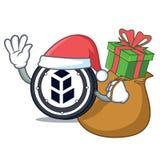 Santa with gift bancor coin mascot cartoon. Vector illustration Royalty Free Stock Image