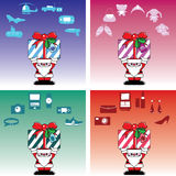 Santa and gift box for everyone Stock Photo