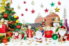 Santa gift box and snowman Christmas toy decoration. or New Year Royalty Free Stock Images
