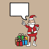 Santa and gift boxe speech bubble Royalty Free Stock Photo