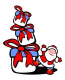 Santa and gift boxes Stock Images