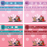 Santa and gift for boy, girl, man and lady Stock Images