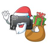 Santa with gift capslock button isolated with the cartoon. Vector illustration stock illustration