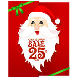 Santa Gift Card. Santa sale card on red background Royalty Free Stock Photos