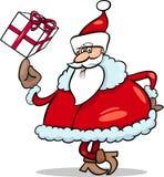 Santa with gift cartoon illustration Stock Photos
