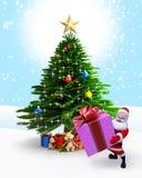 Santa with Gift and christmas tree. Royalty Free Stock Photo