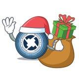 Santa with gift 0X coin mascot cartoon. Vector illustration Royalty Free Stock Photos