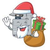 Santa with gift copier machine next to character chair. Vector illustration vector illustration