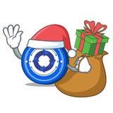 Santa with gift Cryptonex coin mascot cartoon. Vector illustration Royalty Free Stock Image