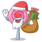 Santa with gift cute lollipop character cartoon. Vector illustration Stock Photos