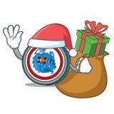 Santa with gift Dragonchain coin mascot cartoon. Vector illustration Stock Images