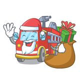 Santa with gift fire truck mascot cartoon. Vector illustration Stock Image