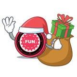 Santa with gift FunFair coin mascot cartoon. Vector illustration Stock Image
