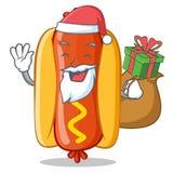 Santa With Gift Hot Dog-Beeldverhaalkarakter royalty-vrije illustratie
