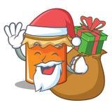 Santa with gift jam mascot cartoon style. Vector illustration Stock Photos
