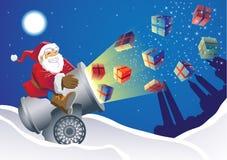 Santa Gift Launcher. Santa sending gifts to everyone in a quick way royalty free illustration