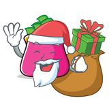 Santa with gift purse character cartoon style. Vector illustration Royalty Free Stock Images
