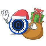 Santa with gift Qash coin mascot cartoon. Vector illustration Royalty Free Stock Image