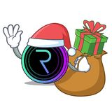 Santa with gift request network coin mascot cartoon. Vector illustration Royalty Free Stock Photography