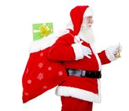 Santa with a gift's bag Stock Photos