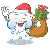 Santa with gift snow cloud character cartoon Stock Images