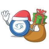 Santa with gift Syscoin mascot cartoon style. Vector illustration Royalty Free Stock Photography