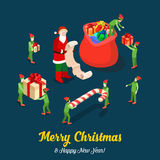 Santa gift trolls Christmas flat isometric vector winter holiday Stock Images