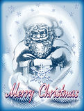 Santa with a gift in vitage blue Stock Image