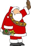 Santa with a gift of wine. This illustration depicts Santa waving and carrying a bottle of wine with a ribbon around the neck Royalty Free Stock Images