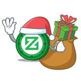 Santa with gift Zcoin mascot cartoon style. Vector illustration Stock Photography