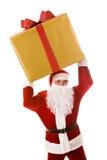 Santa with giftbox. Photo of happy Santa Claus with big giftbox in hands stock photos