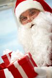 Santa with giftbox Royalty Free Stock Photography