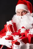 Santa with giftboxes Royalty Free Stock Photography