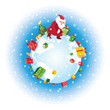 Santa and gifts. Vector illustration of Santa bringing gifts around earth Stock Illustration