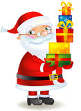 Santa with gifts. Santa Claus standing and holding a gifts, white background, vector illustration Stock Image
