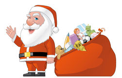 Santa and gifts bag Royalty Free Stock Photo