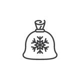 Santa gifts bag line icon, sack with snowflake outline vector si Royalty Free Stock Images