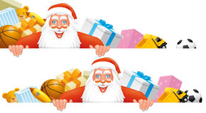 Santa and gifts banner. Two compositions of Santa,gifts and blank sign Royalty Free Stock Photo