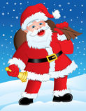 Santa with Gifts & Bell Royalty Free Stock Photos
