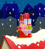 Santa gifts cart background Stock Photography