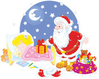Santa with gifts for a child Stock Photo