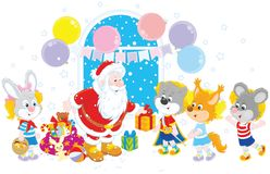 Santa with gifts for children Stock Images