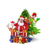 Santa with gifts and christmas tree Stock Photography