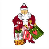 Santa with gifts, Santa Claus with Christmas gifts, Santa Claus and New Year presents, organized in layers. Santa with gifts, Santa Claus with Christmas gifts royalty free illustration