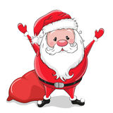 Santa with gifts. Cute Cartoon Santa with gifts on a black background Stock Image